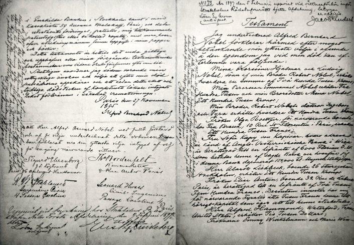 Manuscrito del testamento de Alfred Nobel.